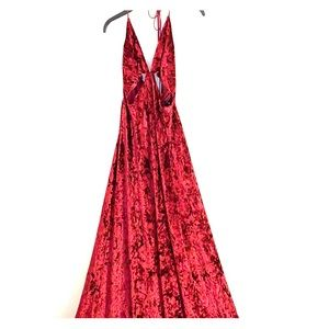 Crushed velvet gown with cutouts
